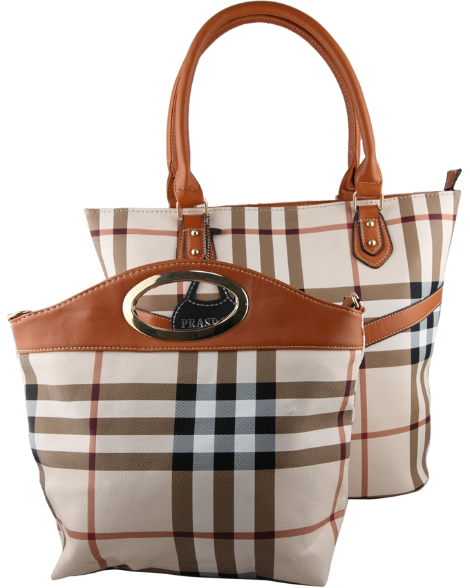 2b1e91a253 Prasdos 2 in 1 Checkered Tote Handbag - Brown   Black One Size 65111 ...