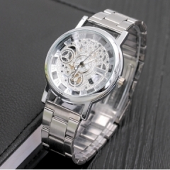 Watch Holllow Stainless Quartz Watch for Men Stainless Steel Case silver