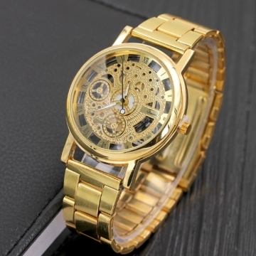 Watch Holllow Stainless Quartz Watch for Men Stainless Steel Case gold