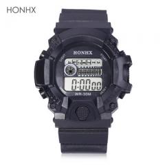 LED Digital Watch Chronograph Calendar Alarm EL Backlight Water Resistance Silicone Band Black