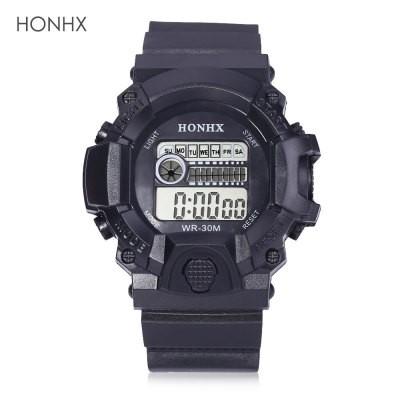 LED Digital Watch Chronograph Calendar Alarm EL Backlight Water Resistance Silicone Band Black