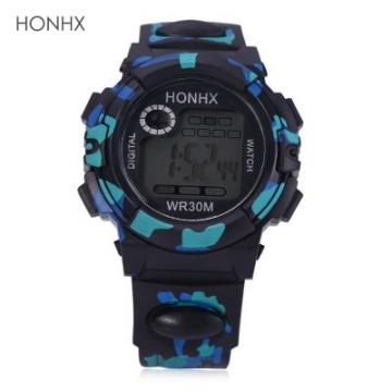 LED Digital Military Watch Chronograph Calendar Alarm EL Backlight Water Resistance Silicone Brand Black&Blue