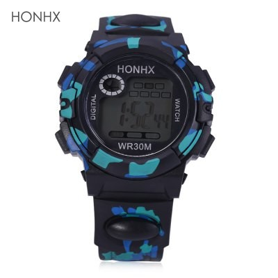 LED Digital Military Watch Chronograph Calendar Alarm EL Backlight Water Resistance Silicone Brand Black&Blue