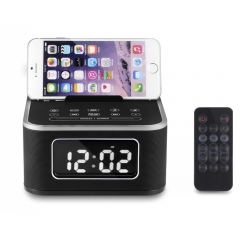 Bluetooth Wireless Speaker Clock LED Display Stereo Music FM Radio For iPhone 6s7/7s/8 Charger Dock black 18cm*12cm*8cm