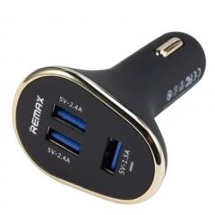 Remax  Car Charger 3 USB Port Cigarette Lighter Universal Car Charger Adapter Black 8cm*2cm
