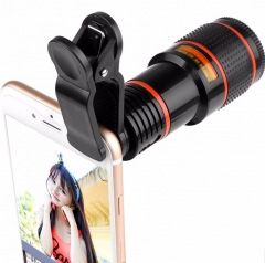 Mobile Phone Lens Telescope (No Dark Corner) 12 X Zoom Optical Camera Lens with Clips