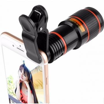Mobile Phone Lens Telescope (No Dark Corner) 12 X Zoom Optical Camera Lens with Clips