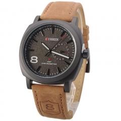 Fashion Casual Unisex Wristwatch Curren Man Sport Quartz Watch Leather black