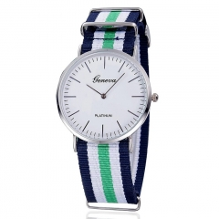 Men Quartz Watch Geneva Fabric Nylon Canvas Military Wrist Watch 2
