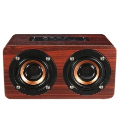 Portable Wireless Bluetooth Wooden Speaker Support HiFi Shock Bass TF Soundbar For Smart Phon red 12cm*8cm*3cm