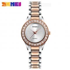 SKMEI Women Fashion Watch Stainless Steel Strap Quartz Watch Ladies Waterproof Casual Wristwatch rose gold