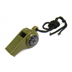 New black Whistle Compass 3 in1 Survival Camping Thermometer