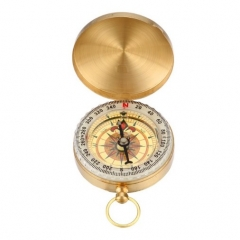 New Arrival Camping Hiking Portable Brass Pocket Golden Compass Navigation for Outdoor Activities