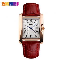 SKMEI Women Quartz Watches Luxury Fashion Casual Watch Leather Strap Lady Dress Girls red