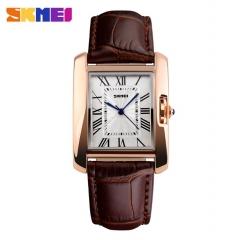 SKMEI Women Quartz Watches Luxury Fashion Casual Watch Leather Strap Lady Dress Girls coffee