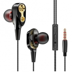 Sport In-Ear Earphone High Bass Dual Drive Stereo Subwoofer Headest With Microphone Earbud For Phone black