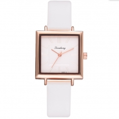 2019 Square Women Bracelet Watch Contracted Leather Crystal WristWatches  Dress Ladies Quartz Clock white