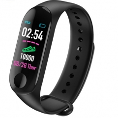 M3 Color Screen Smart Sport Fitness Bracelet Waterproof Blood Pressure Tracker Smart Watch black