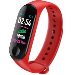 M3 Color Screen Smart Sport Fitness Bracelet Waterproof Blood Pressure Tracker Smart Watch red