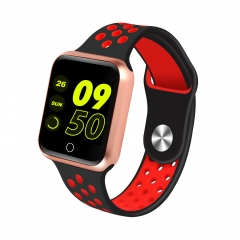Waterproof Bluetooth Smart Watch Heart Rate Monitor Pedometer Call Reminder For iphone/Android Phone red+gold