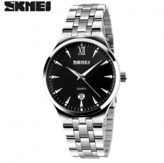 SKMEI Men Women Stainless Steel Quartz Wristwatches  Calendar Fashion Watch Waterproof Sport Watches Men Black