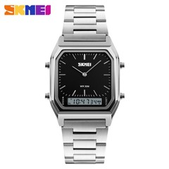 SKMEI Dual Display Wristwatches Men Fashion Watch Stainless Steel Strap Waterproof Sports Watches black