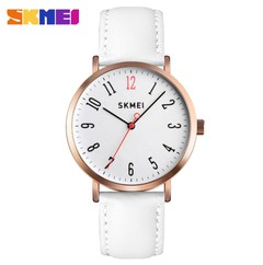 SKMEI Fashion Women Watches Leather Strap Wristband Female Waterproof Quartz Watch Ladies Wristwatch white