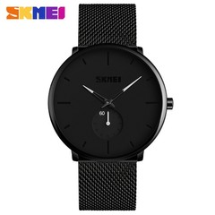 SKMEI Fashion Men Watches Quartz Wristwatches Waterproof Big Dial Display Quartz Watch white