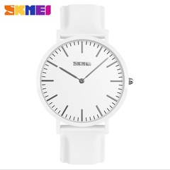 SKMEI Women Watches Men Leather Strap Watch Couple Fashion Casual Wristwatches Waterproof Watch women white