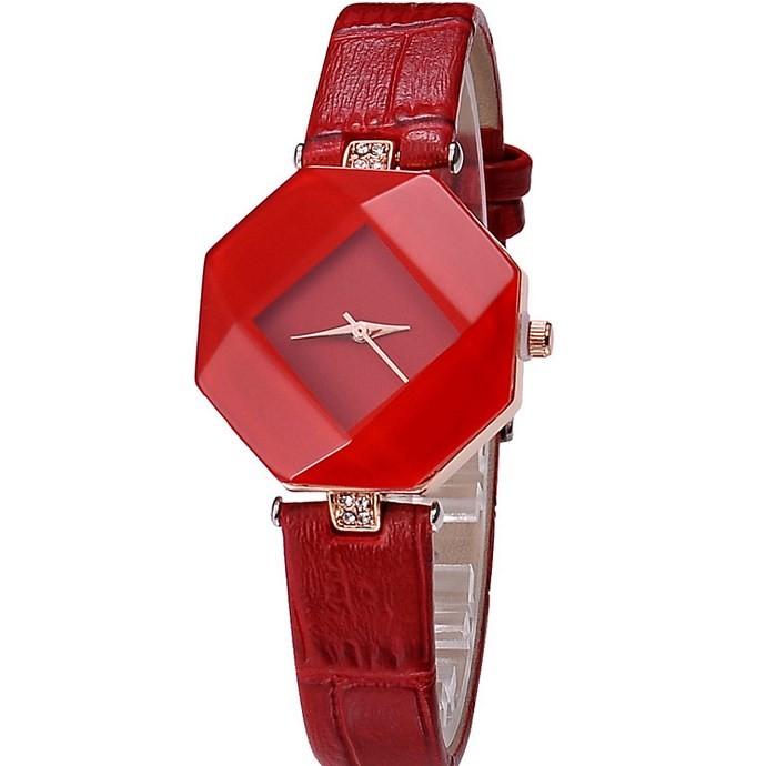 Kezzi Women Ladies Quartz Watch Kroean Fashion Acrylic Wristwatch Japan Movt red