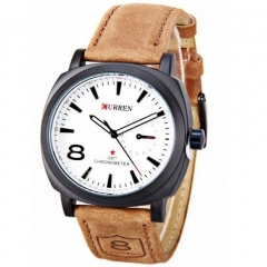 Fashion Casual Unisex Waterproof Wristwatch Curren Man Sport Quartz Watch Leather Watchband White