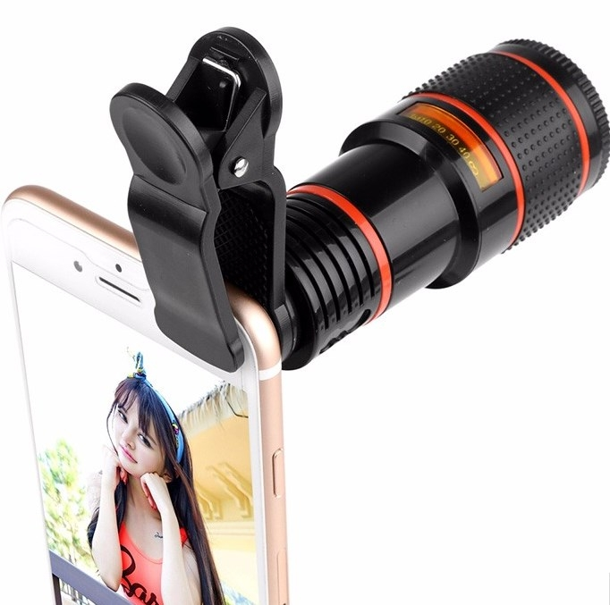 HD Mobile Phone Lens Telescope (No Dark Corner) 12 X Zoom Optical Telescope Camera Lens with Clips