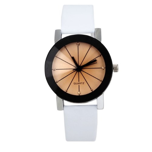 Men/Women Quartz Dial Clock Leather WristWatch Round Fashion Men/Women's Sports Watches Men White