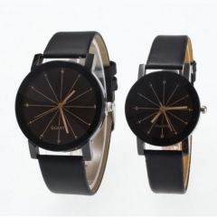 Men/Women Quartz Dial Clock Leather WristWatch Round Fashion Men/Women's Sports Watches Couple Black
