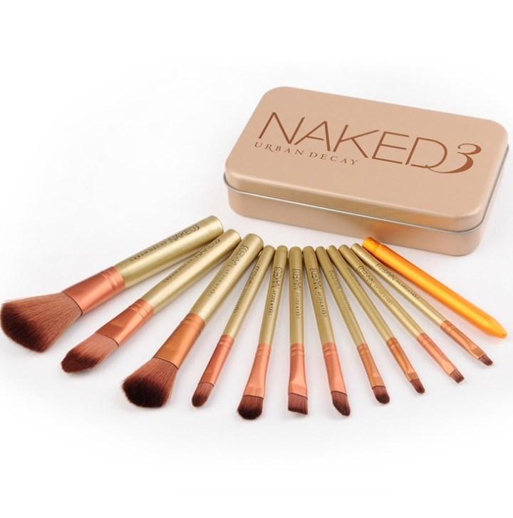 12Pcs Naked Makeup Brushes Cosmetics Tools Face Eyeshadow Eyeliner Lip Brush Set Tool With Box Rose Gold