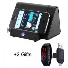 Smart Sensor Magic Induction Wireless Amplifier Bass Speaker  with Phone Holder black 1pcs