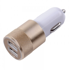 2 Port Car Charger-5V 2A Mini USB -Quick Charging for Smartphones white&gold portable