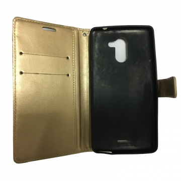 For Infinix - Luxury Flip Leather Phone Case-PU Leather Phone Cover gold Infinix Hot 4/X557