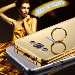 For Samsung- Luxury Ultra Slim Hard Plating Metal Mirror Phone Case gold gold samsung s7 edge