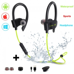 Sports Bluetooth Earphone-Running Wireless Headset V4.1 Stereo Bass with Microphone yellow portable