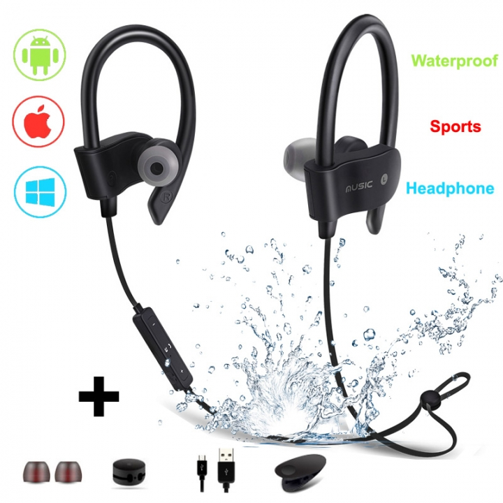 Sports Bluetooth Earphone-Running Wireless Headset V4.1 Stereo Bass with Microphone black portable
