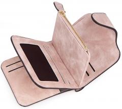 Vanlentine Gift-Lady Snap Fastener Zipper Short Clutch Wallet-Solid Vintage Matte Women Wallet pink one size