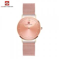 DZ luxe mode horloge mannen ultra dunne goud Staal Mesh Liefhebbers Horloge uomo rose gold