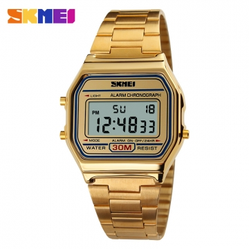 SKMEI 1123 Men Sport Digital Watch Waterproof Calendar Chrono Top Brand luxury Fashion Wristwatches golden
