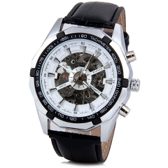 Winner 340 Waterproof watch with belt machine hollowed out white