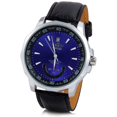 WINNER Mechanical Watch with Hollow out Design Dial and Leather Watchband for Men blue