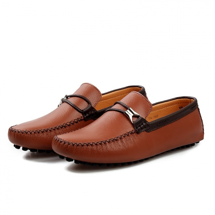 Luxury Leather Boat Shoes Mens Top Sider Driving Shoes British Style Handmade Casual Flats Gorgeous brown 44