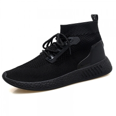 2018 Men Shoes Casual High Top Skate Shoes Mens Trainers Tenis Man Running Mesh Soft black 39