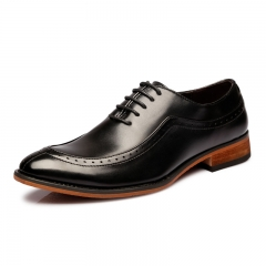 2018 Genuine Leather Mens Formal Brogue Man Office Party Lace Up Dress Shoes Gentelman black 40