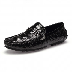 Fashion Leather Men Loafers Breathable Softness Crocodile Pattern Slip On Casual Driving Shoes black 38